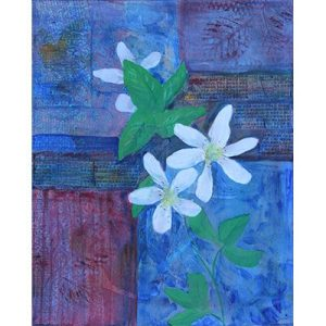 floral, blackberry blossoms, acrylic paintings, mixed media collage, mixed media painting,