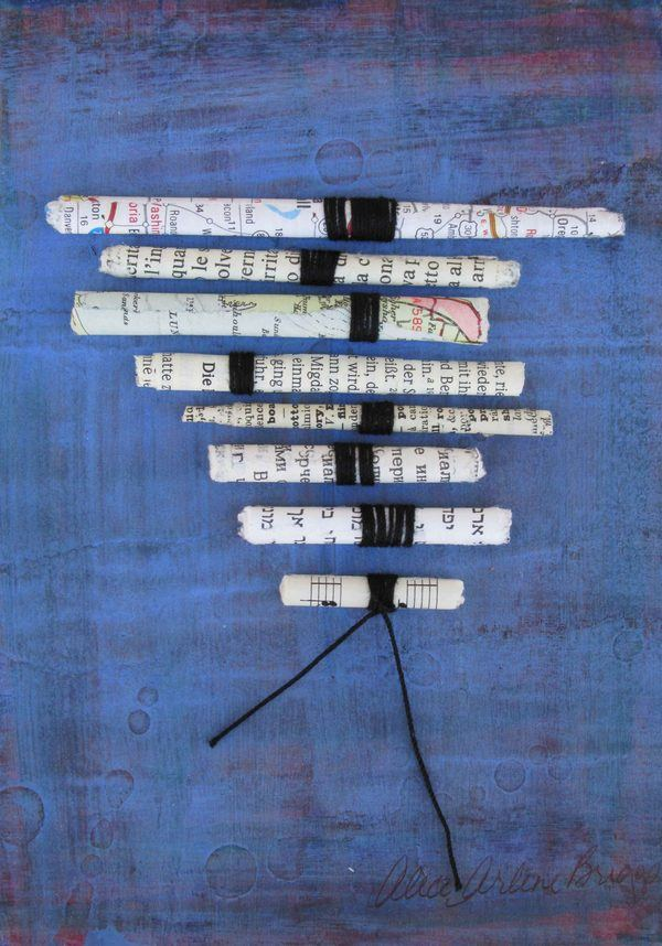 Scrolls Abstract Personalized Celebrate Significance Mixed Media Artwork