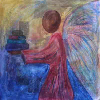 Ask water media, mixed media, prophetic art worship painting